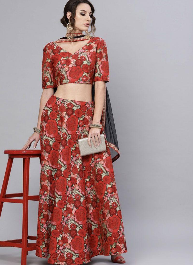 Printed Green and Red Jacquard Readymade Lehenga Choli