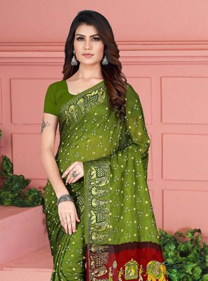 Printed Green Art Silk Silk Saree