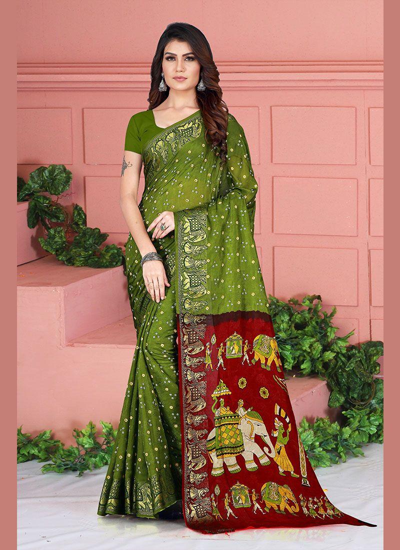Printed Green Art Silk Silk Saree