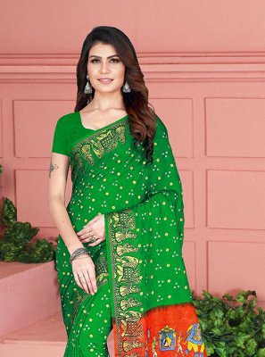Printed Green Art Silk Traditional Saree