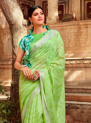 Printed Green Casual Saree
