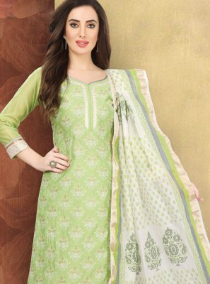 Printed Green Cotton Churidar Designer Suit