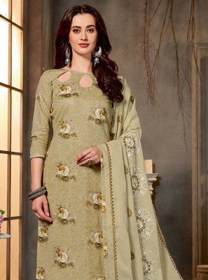 Printed Green Cotton Salwar Kameez