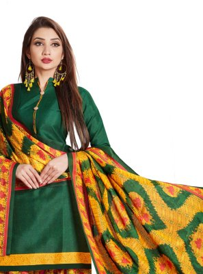 Printed Green Designer Patiala Suit
