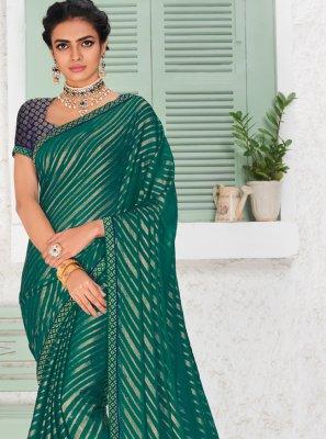 Printed Green Fancy Fabric Saree