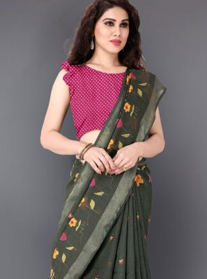 Printed Green Linen Casual Saree