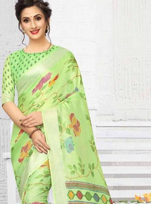Printed Green Linen Printed Saree