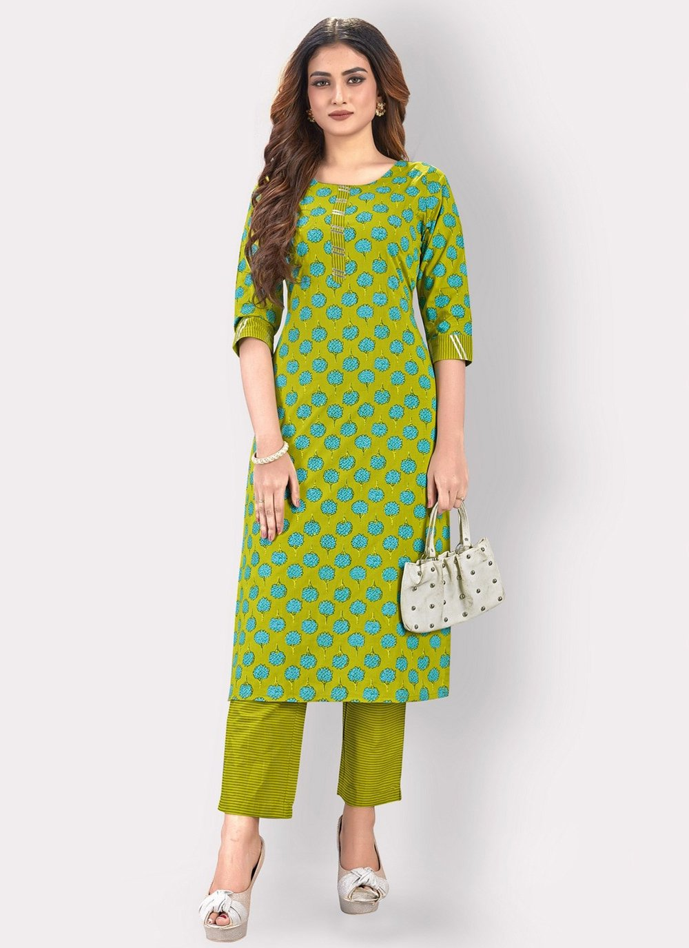 Printed Green Party Wear Kurti
