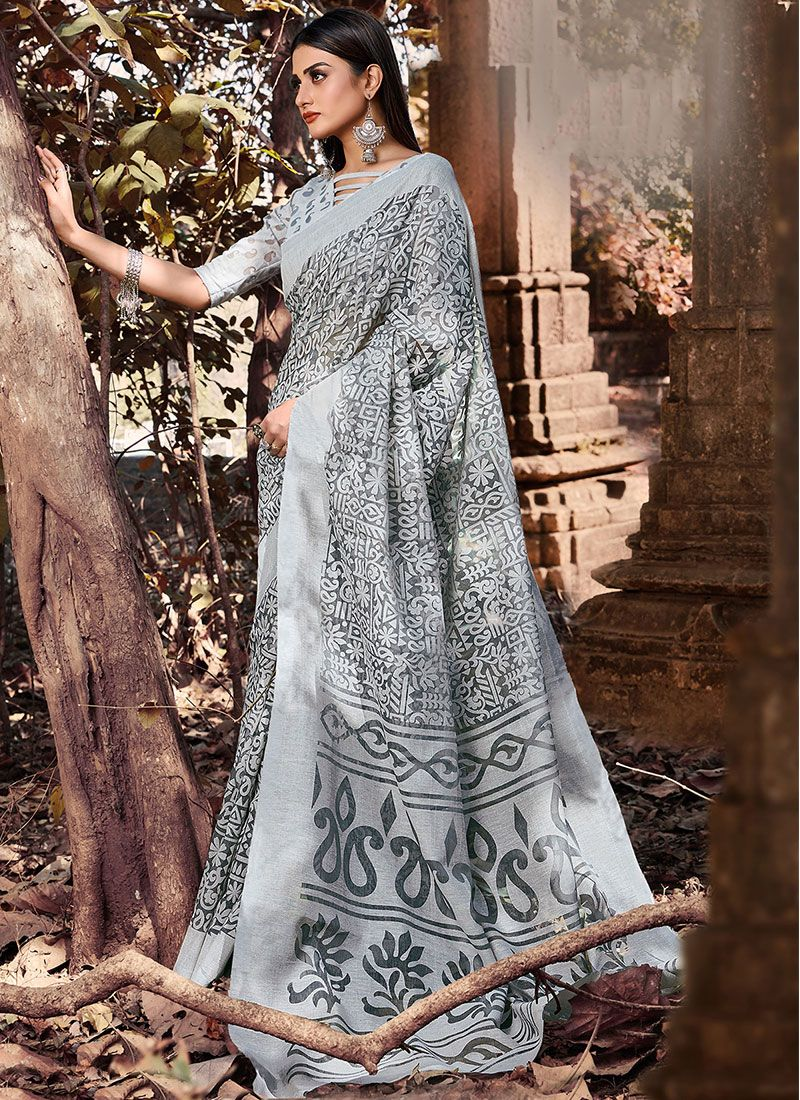 Printed Grey Casual Saree