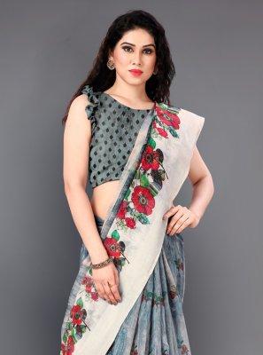 Printed Grey Casual Saree