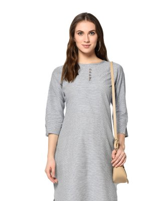 Printed Grey Cotton Party Wear Kurti
