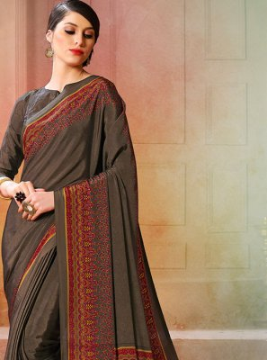 Printed Grey Printed Saree