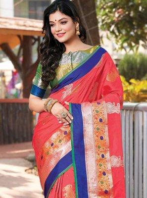 Printed Handloom silk Pink Classic Designer Saree