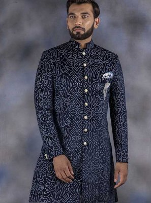 Printed Jacquard Indo Western in Navy Blue