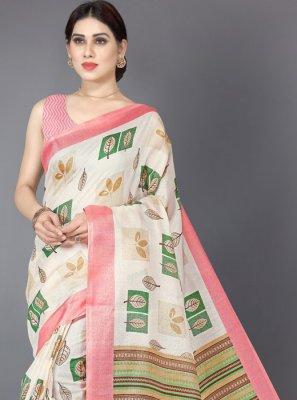 Printed Khadi Silk Casual Saree