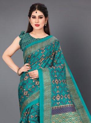 Printed Khadi Silk Casual Saree in Teal