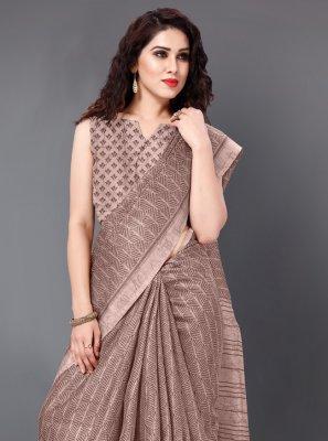 Printed Khadi Silk Mauve  Designer Bollywood Saree
