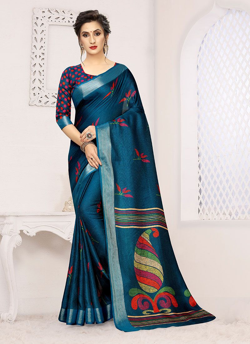 Printed Linen Casual Saree in Blue and Teal