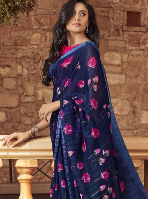 Printed Linen Classic Saree in Navy Blue