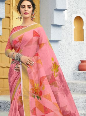 Printed Linen Traditional Saree