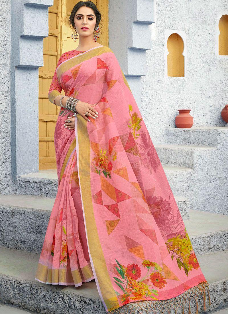 Printed Linen Traditional Saree