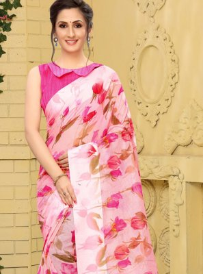 Printed Linen Trendy Saree in Pink