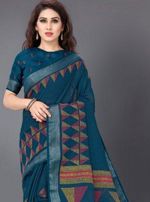 Printed Linen Turquoise Printed Saree