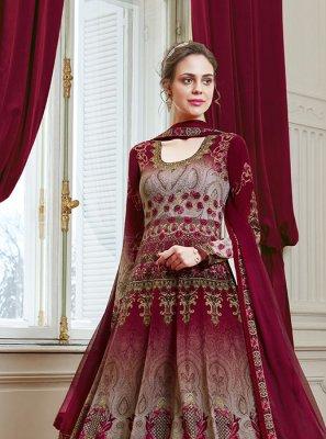 Printed Maroon Georgette Floor Length Designer Salwar Suit