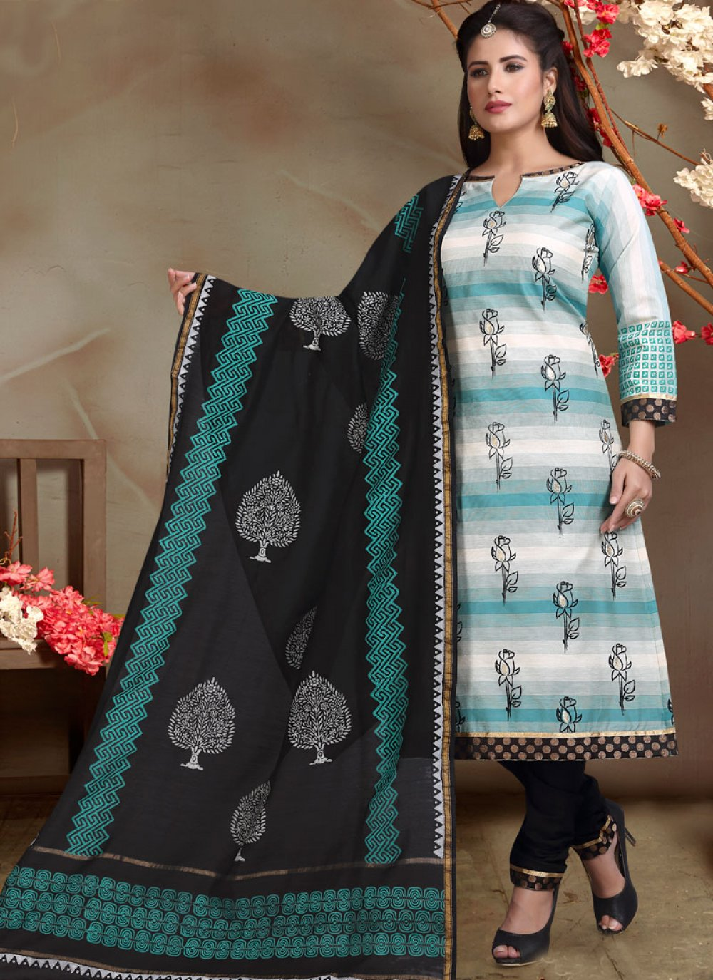 Printed Mehndi Churidar Salwar Suit