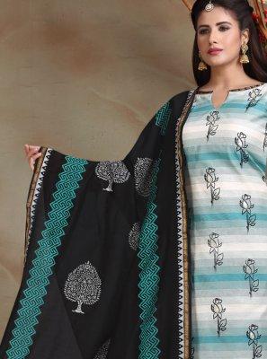 Printed Mehndi Churidar Salwar Suit