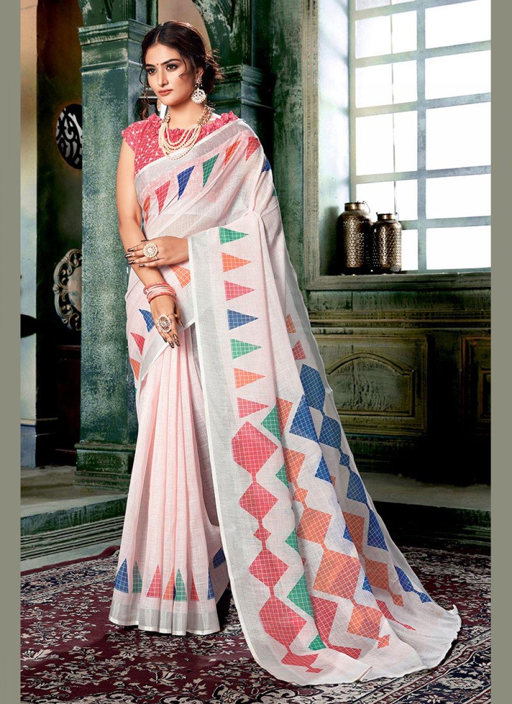 Printed Multi Colour and Off White Casual Saree