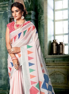 Printed Multi Colour and Off White Casual Saree