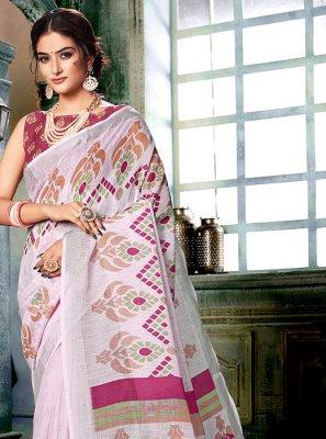 Printed Multi Colour and Off White Linen Casual Saree
