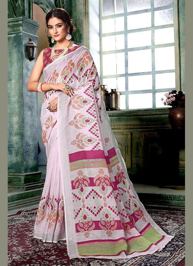Printed Multi Colour and Off White Linen Casual Saree
