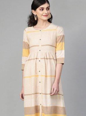 Printed Multi Colour Cotton Designer Kurti