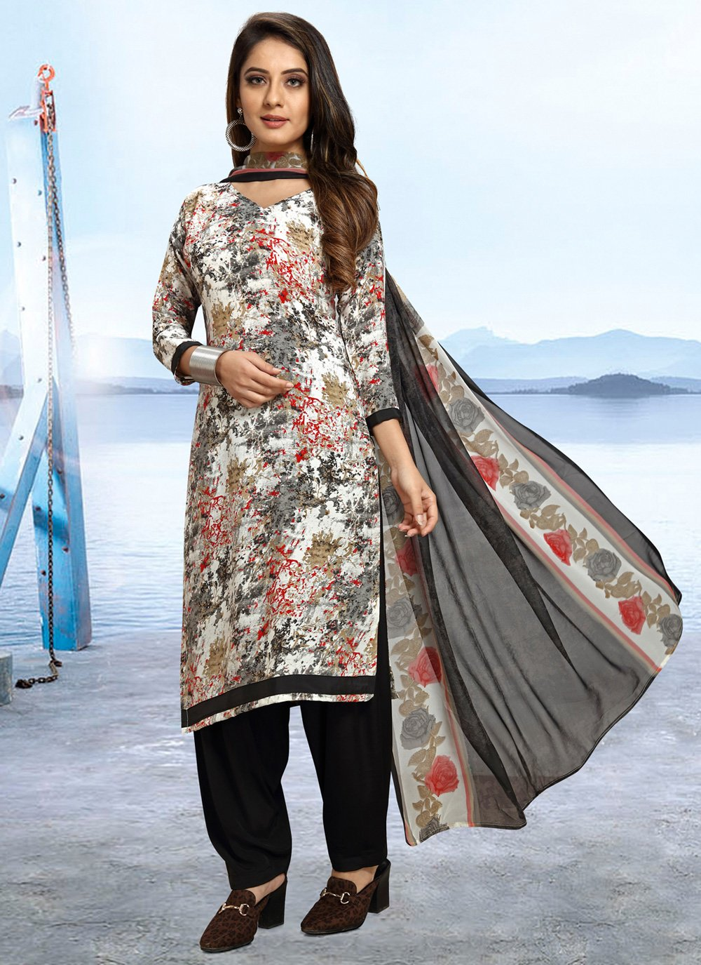 Printed Multi Colour Designer Salwar Kameez