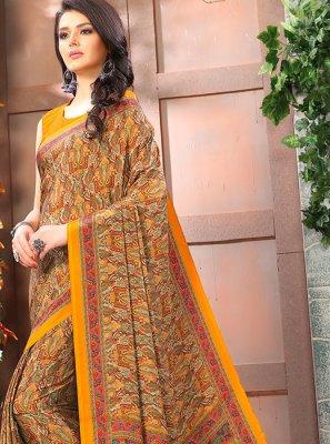 Printed Multi Colour Faux Crepe Casual Saree