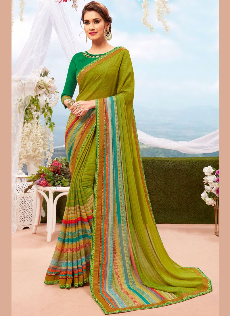 Printed Multi Colour Georgette Printed Saree