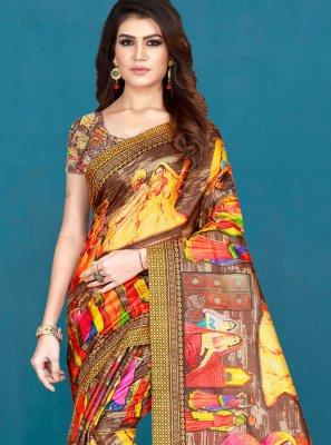 Printed Multi Colour Khadi Silk Silk Saree
