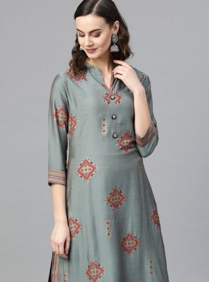 Printed Multi Colour Silk Designer Kurti