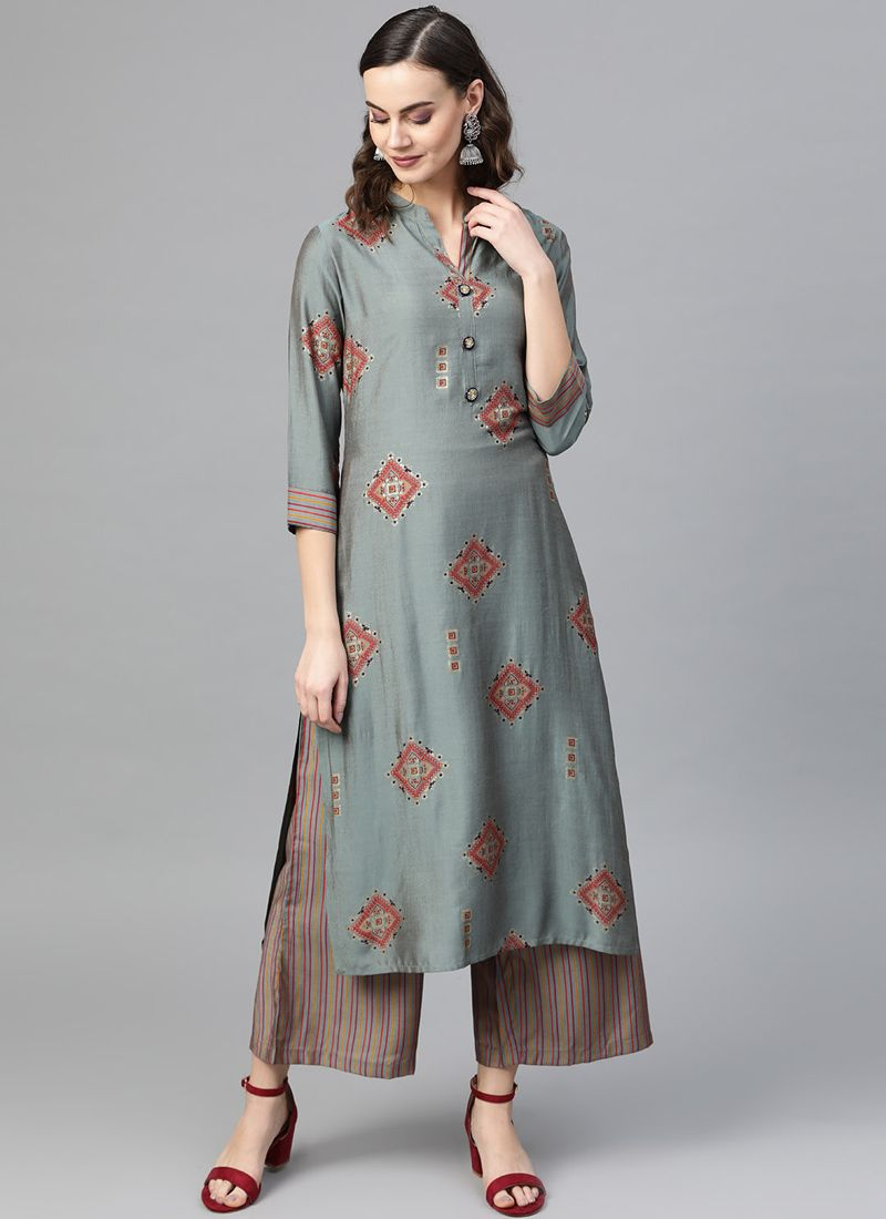 Printed Multi Colour Silk Designer Kurti