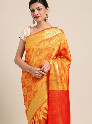 Printed Mustard Art Silk Printed Saree