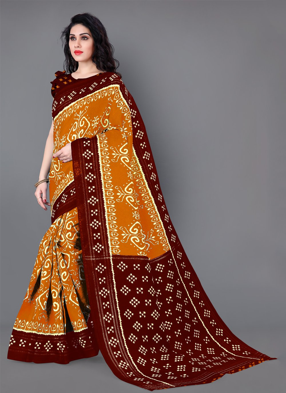 Printed Mustard Silk Casual Saree