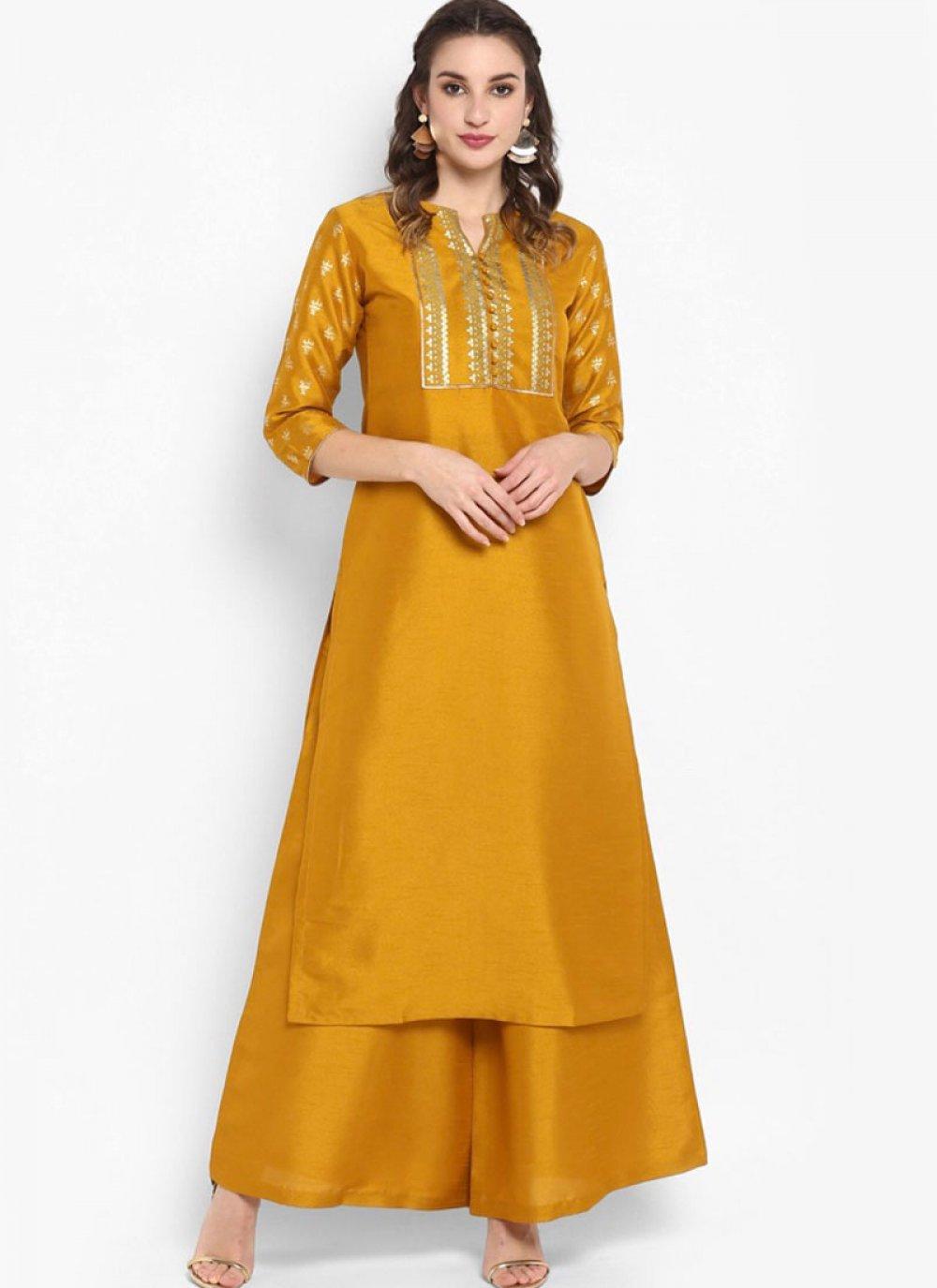 Printed Mustard Silk Party Wear Kurti