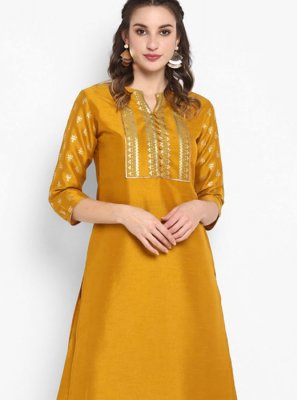 Printed Mustard Silk Party Wear Kurti