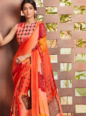 Printed Orange Georgette Casual Saree