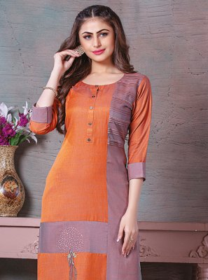 Printed Orange Party Wear Kurti
