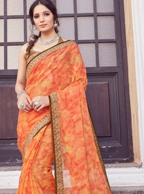 Printed Orange Silk Trendy Saree