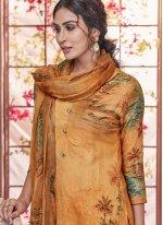 Printed Pashmina Designer Palazzo Salwar Suit in Yellow