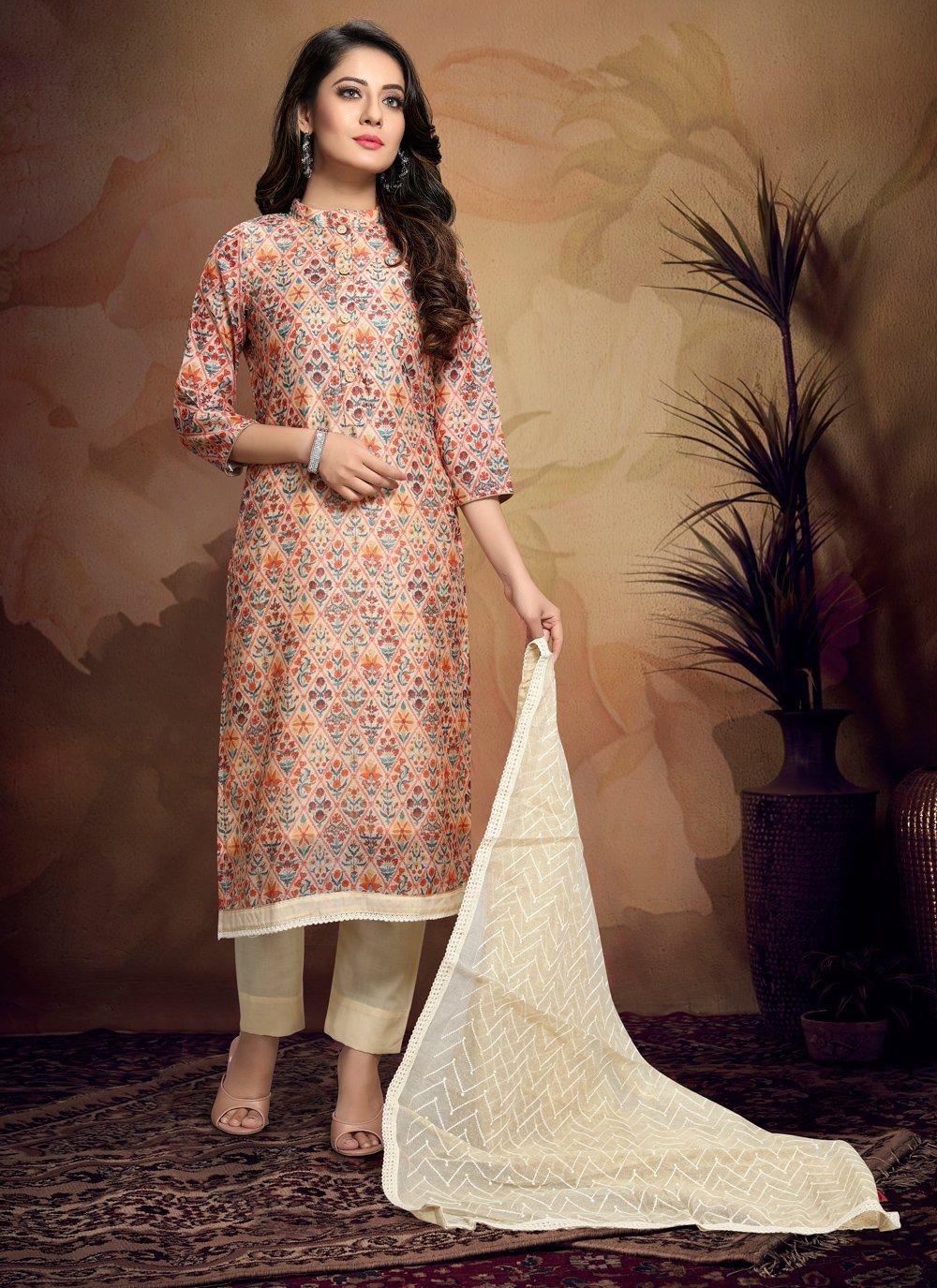 Printed Peach Chanderi Salwar Suit